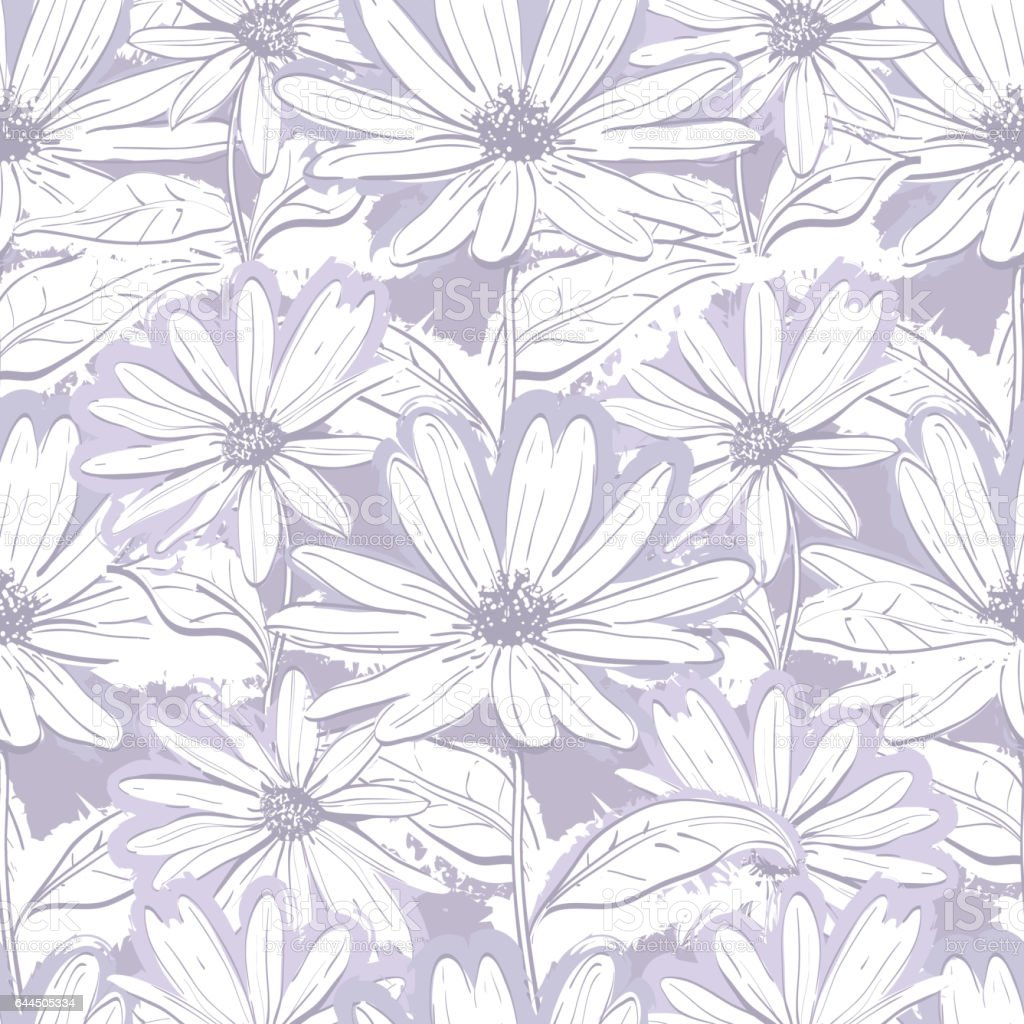 Monochrome lilac gray floral wallpaper, Seamless pattern chamomiles, Hand-drawn daisies vector art illustration