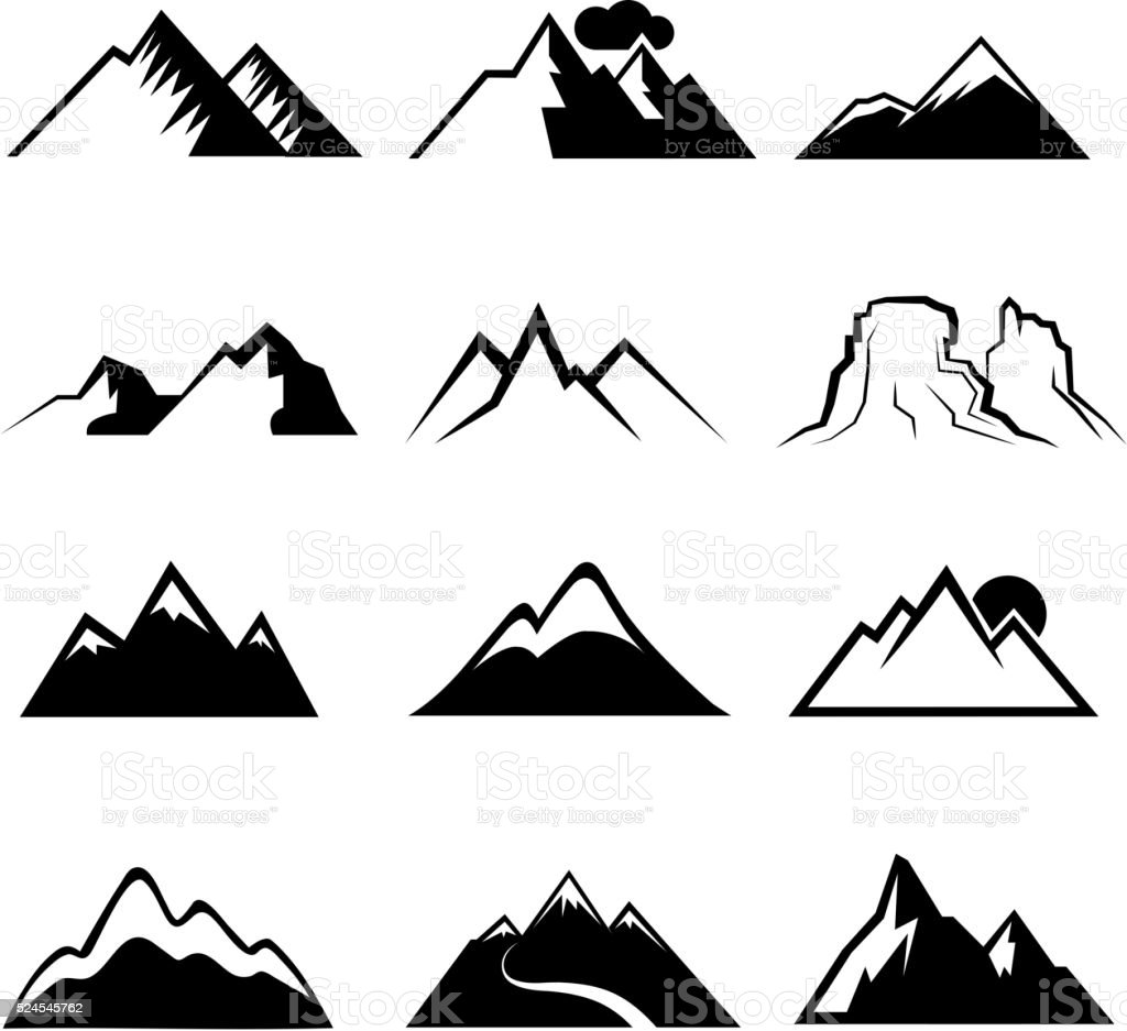 Monochrome Mountain Vector Icons Stock Vector Art
