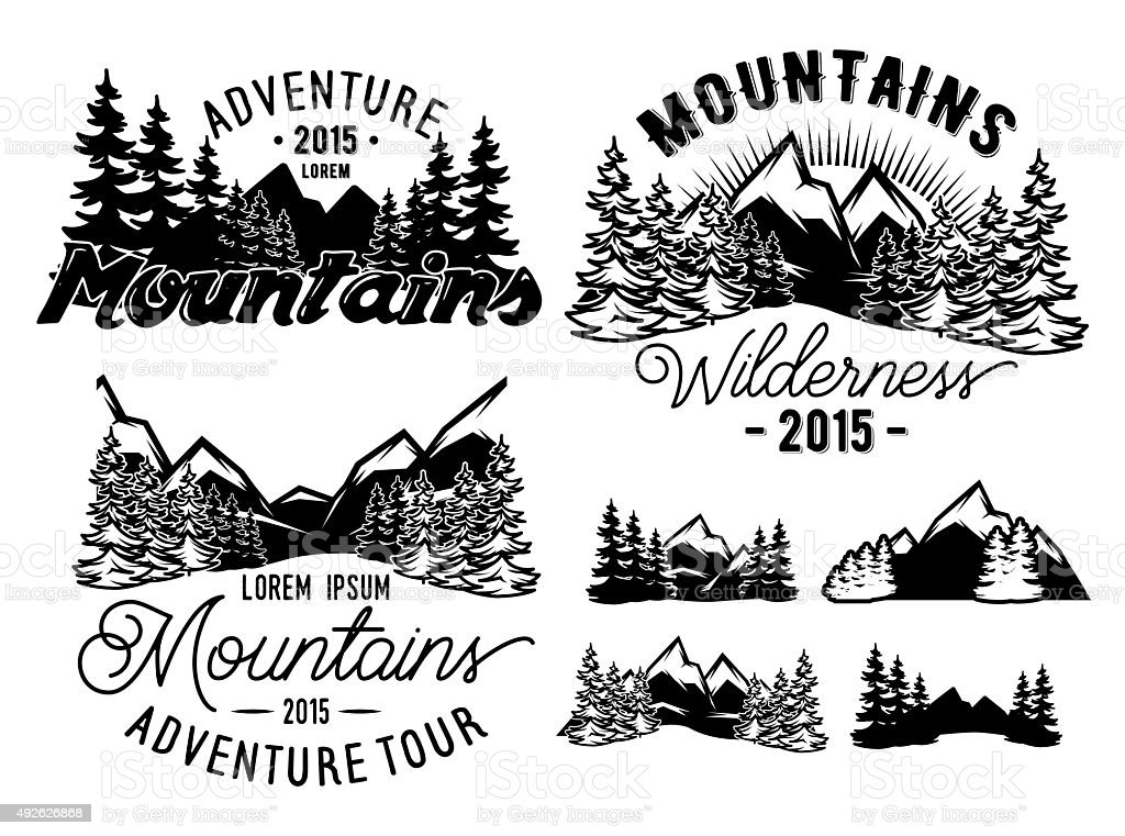 monochrome patterns landscape with mountains and fir forest vector art illustration