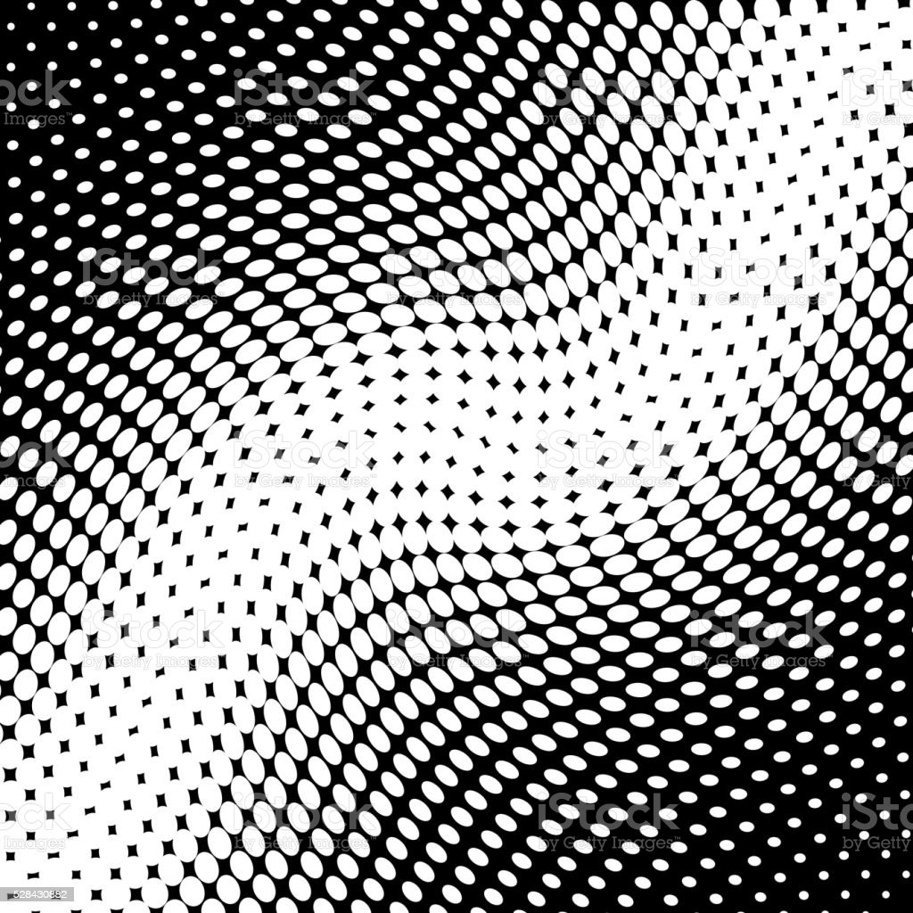Monochrome polka dots contorted pattern background vector art illustration