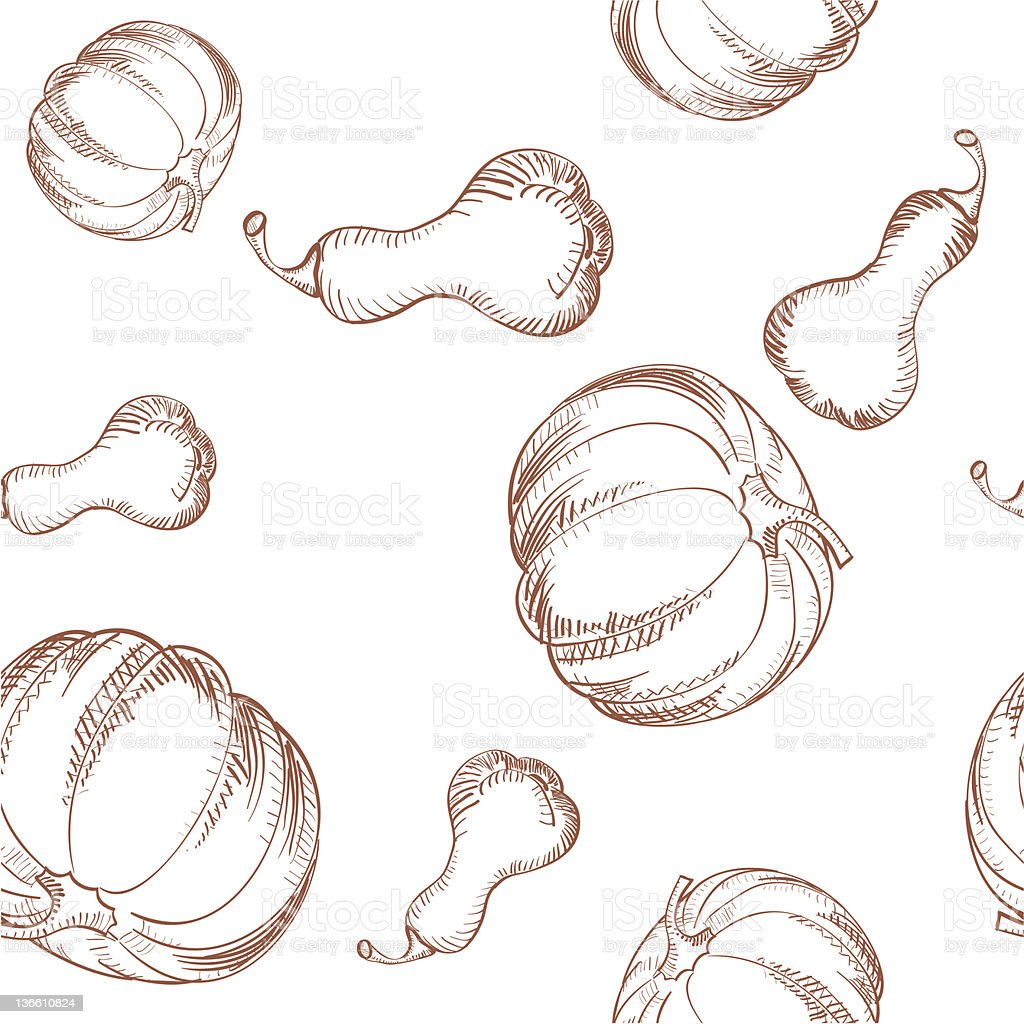 Monochrome Pumpkins and Butternut Squash, Seamless Illustration royalty-free stock vector art
