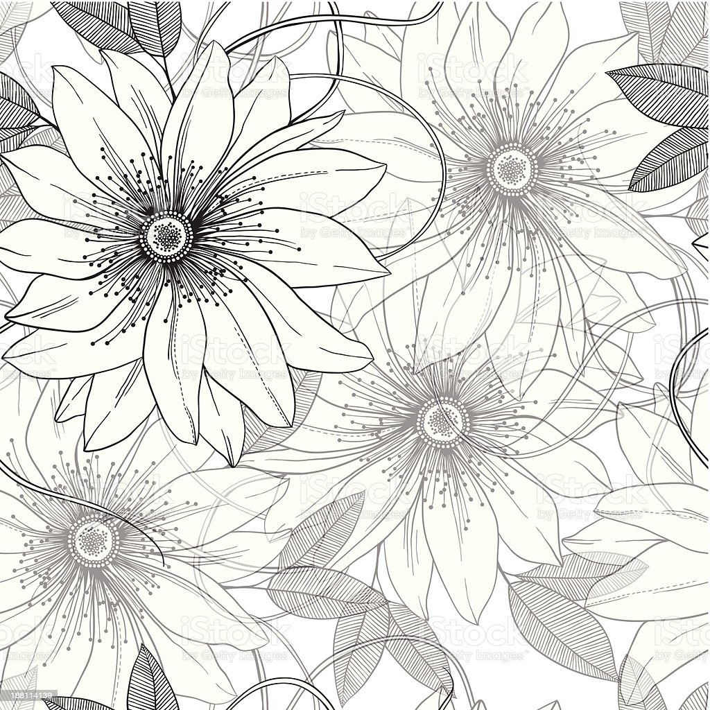 monochrome retro vintage seamless vector pattern abstract flowers and leaves royalty-free stock vector art