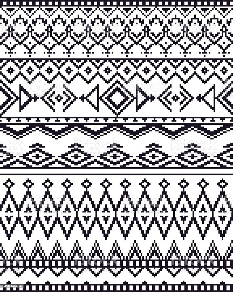 Monochrome seamless background with pixel pattern in aztec tribal style. vector art illustration