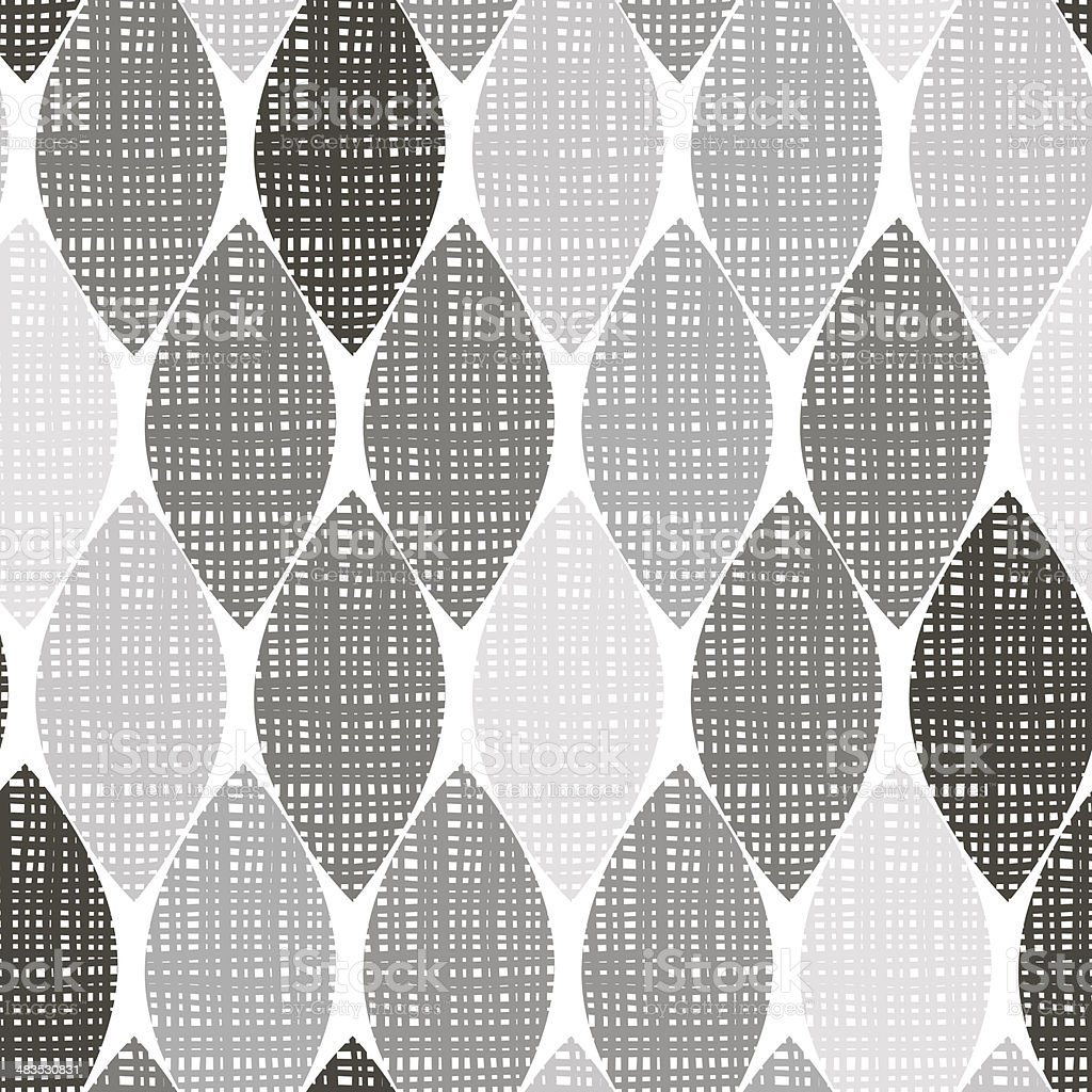 Monochrome seamless pattern of abstract leaves. vector art illustration