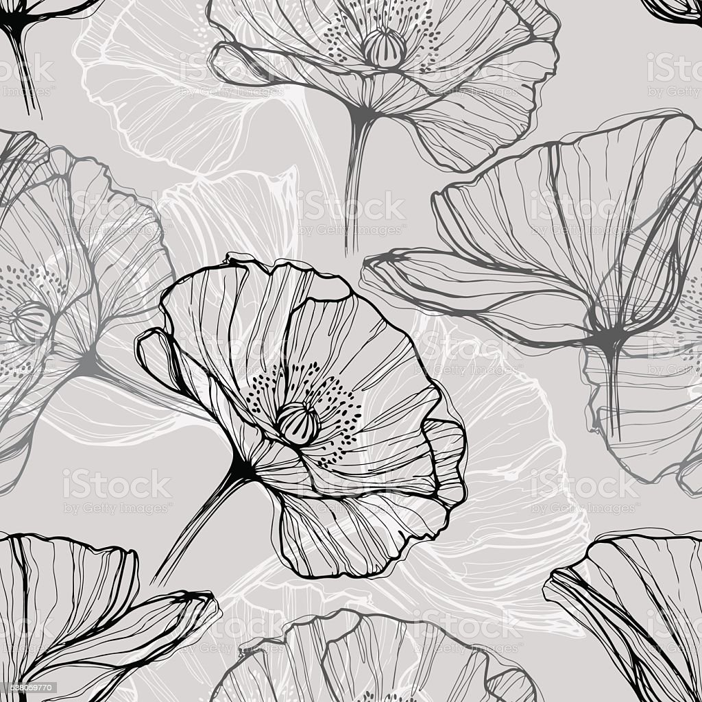 Monochrome seamless pattern with poppies. Hand-drawn floral background. vector art illustration