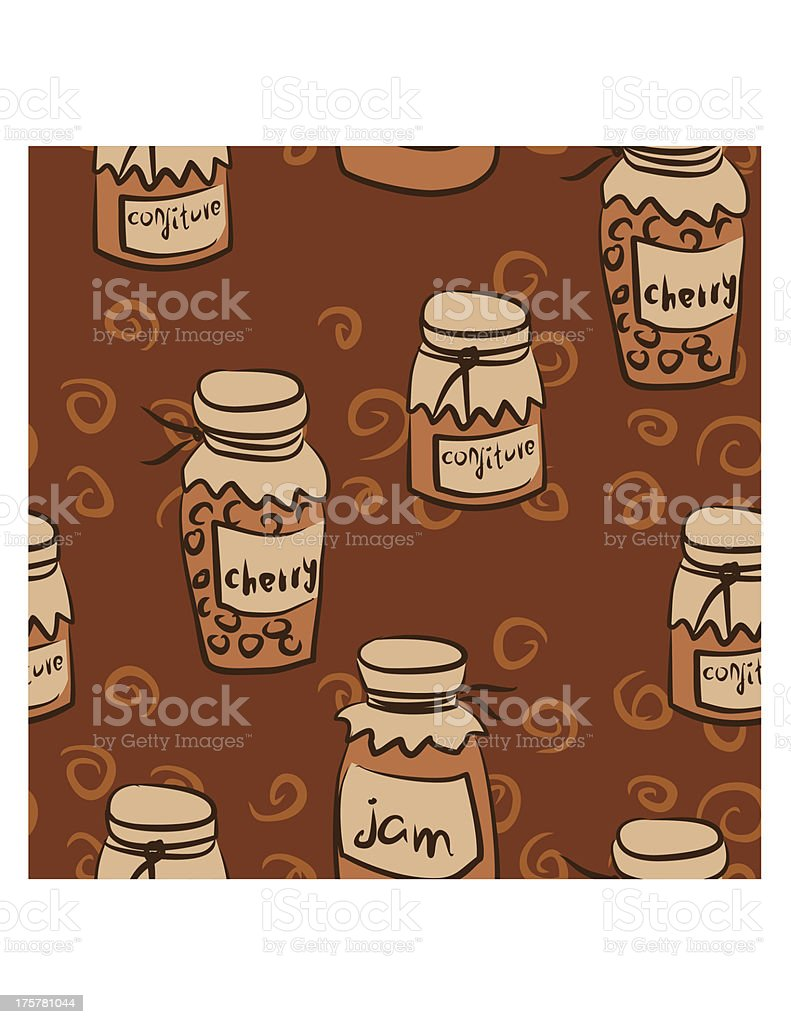 monochrome seamless pattern with pots of the jam royalty-free stock vector art