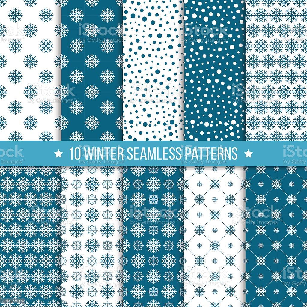 Monochrome seamless pattern with snowflakes vector art illustration