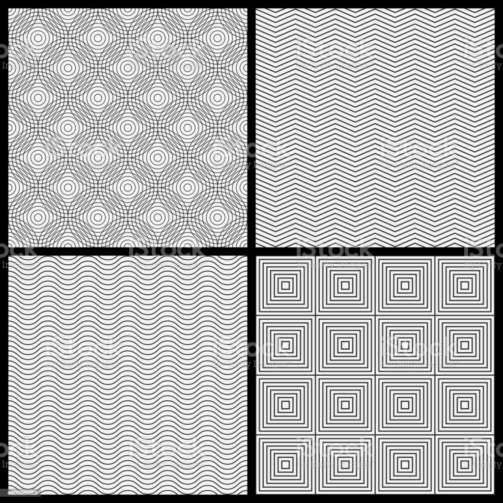 Monochrome seamless patterns royalty-free stock vector art