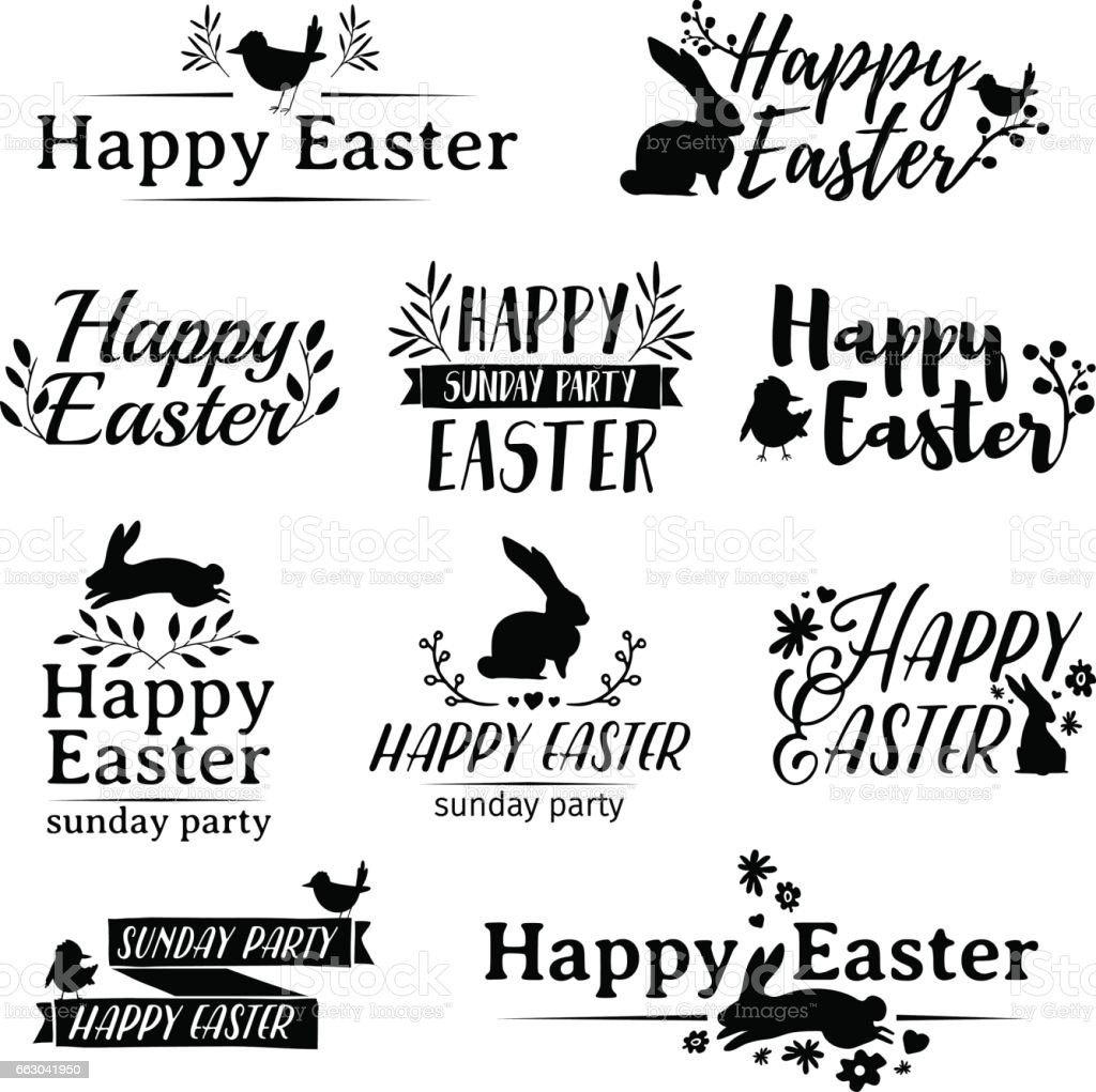 Monochrome set symbol for Easter. Badges for the spring holiday of Easter. vector art illustration