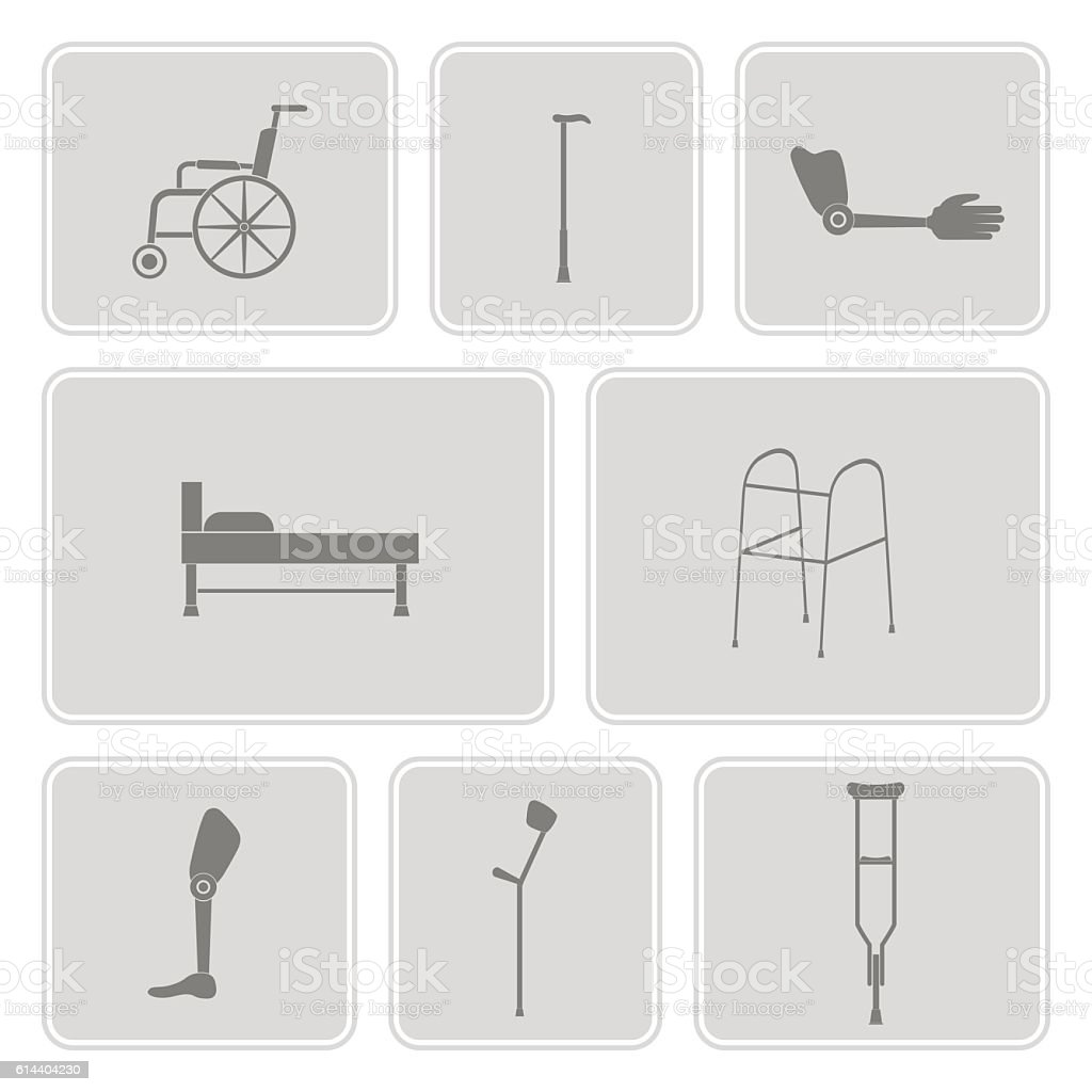 monochrome set with disabled icons vector art illustration