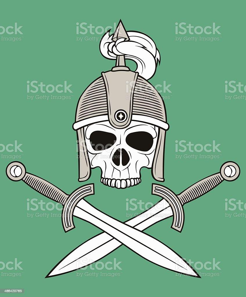 monochrome skull illustration vector art illustration