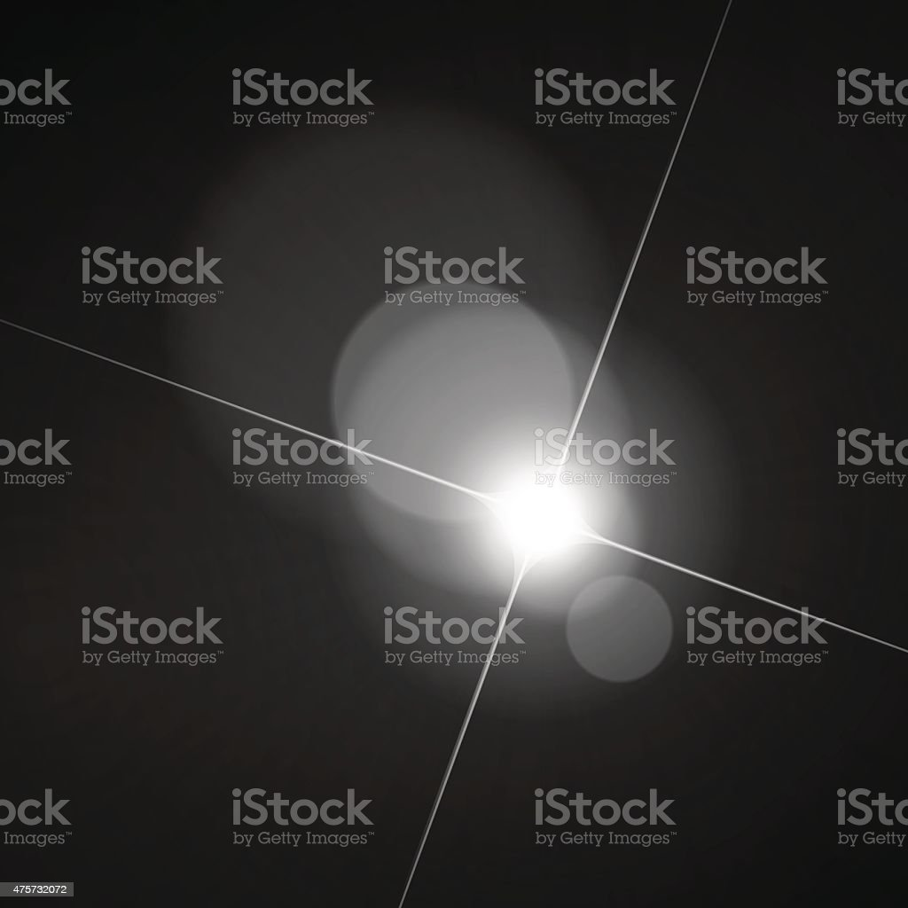 Monochrome Star Light Bokeh Lens Flare Defocus Stock Vector Background vector art illustration