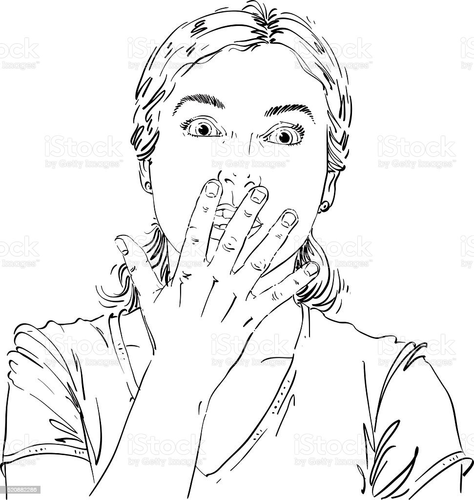 Monochrome vector hand-drawn image, shocked young woman. Black vector art illustration