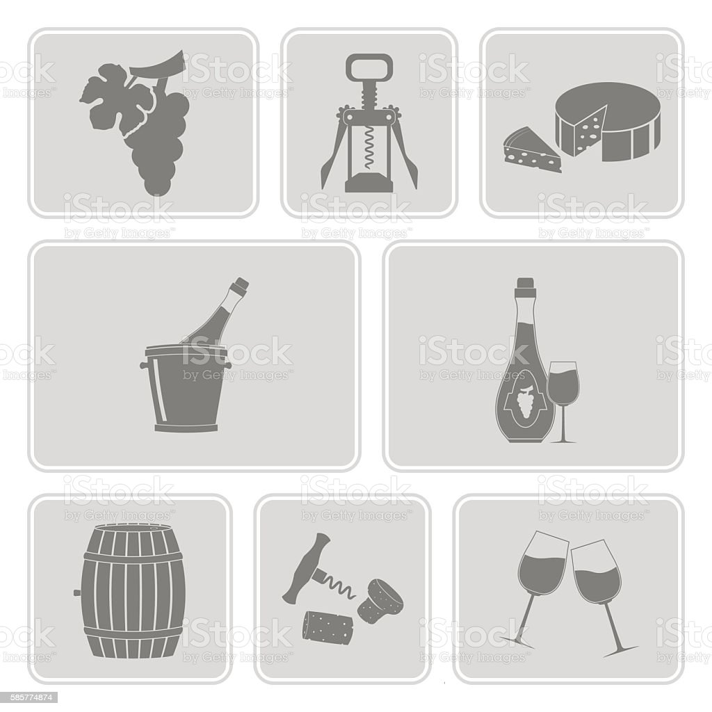 monochrome vector set with wine icons vector art illustration