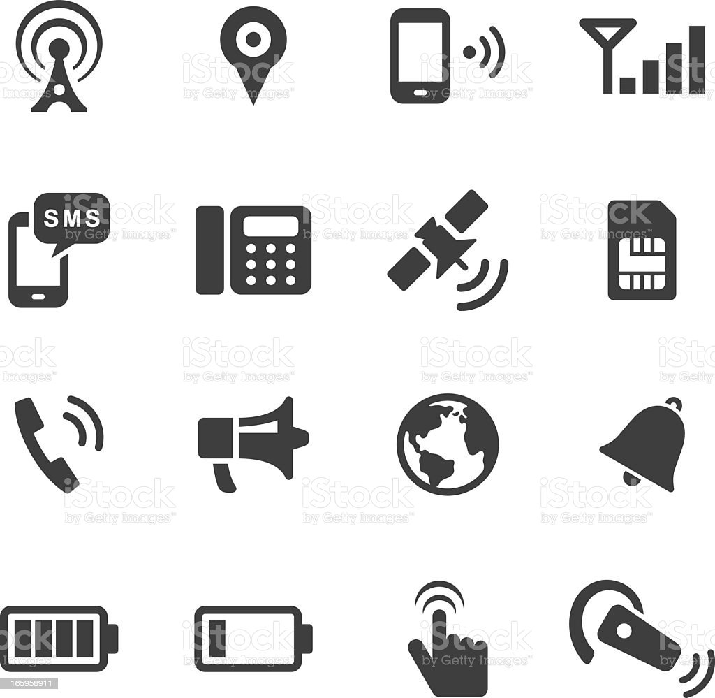 Mono-color communication icon set royalty-free stock vector art