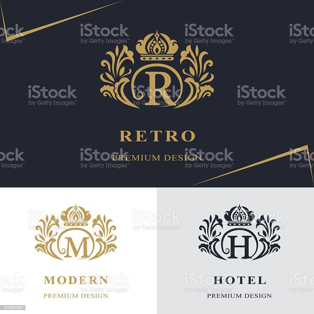 Monogram design elements, graceful template. Letter emblem R, M, H vector art illustration