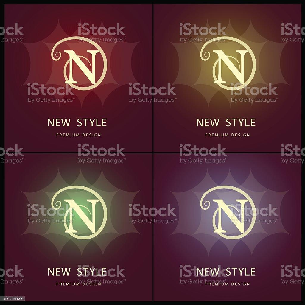 Monogram design elements, graceful template. Letter N. Emblem. Vector illustration vector art illustration