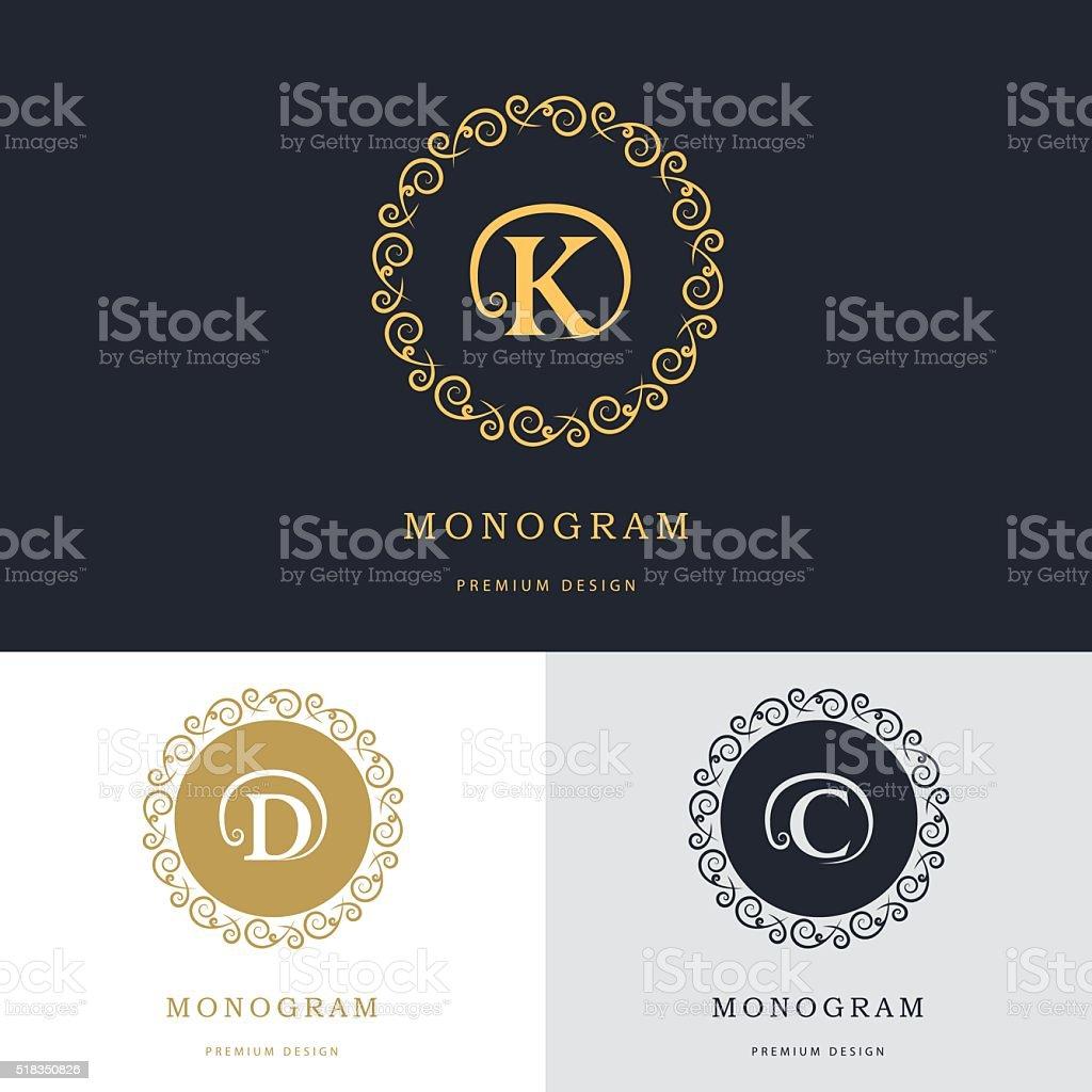 Monogram design elements, template. Letter D, C, K. Vector illustration vector art illustration