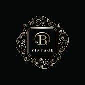Monogram design graceful template. Elegant business emblem.  Letter B. Vector