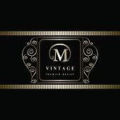 Monogram design graceful template. Elegant business emblem.  Letter M. Vector