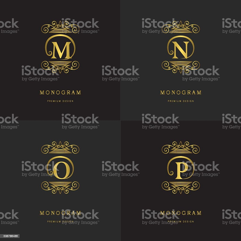 Monogram design template. Letter emblem M, N, O, P. Vector vector art illustration