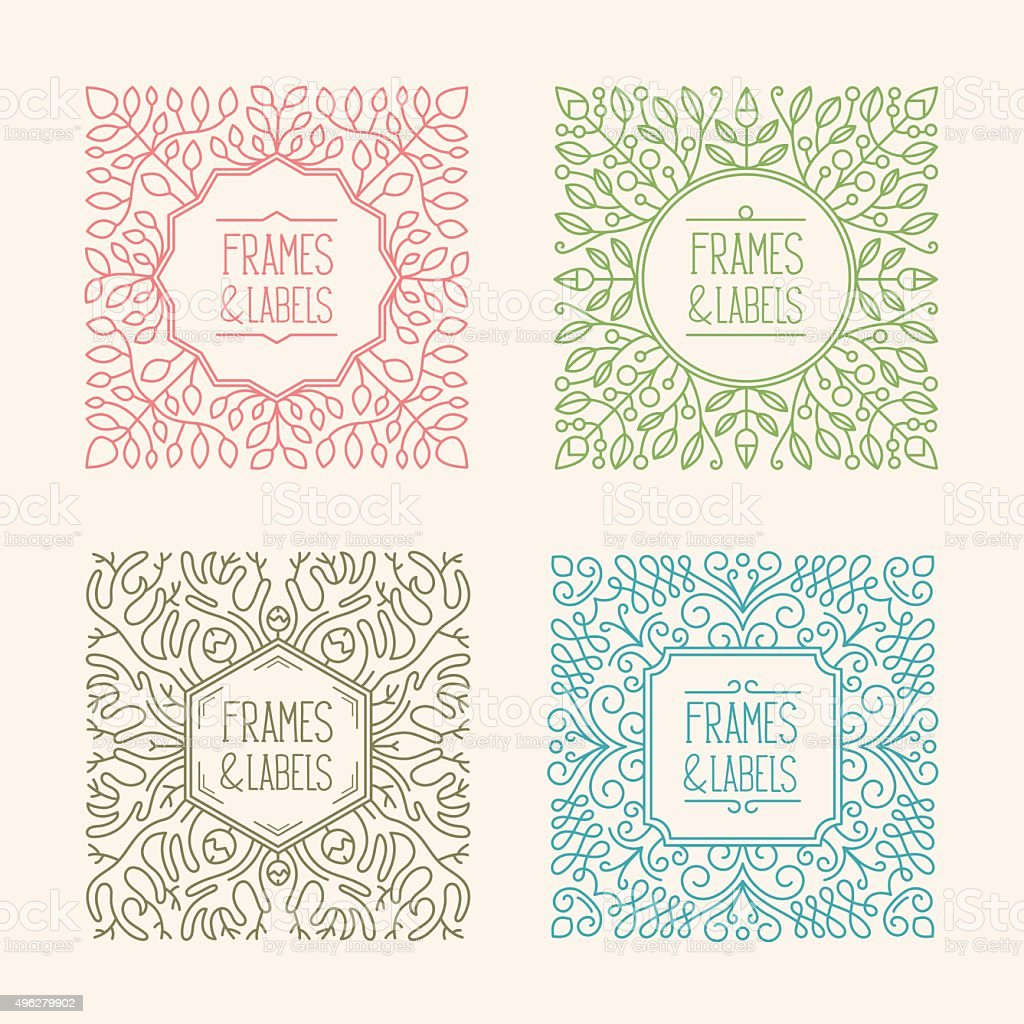 Monogram frames vector art illustration
