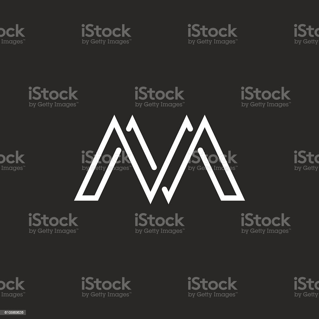 M monogram letter logo, crossing thin line, black white emblem vector art illustration
