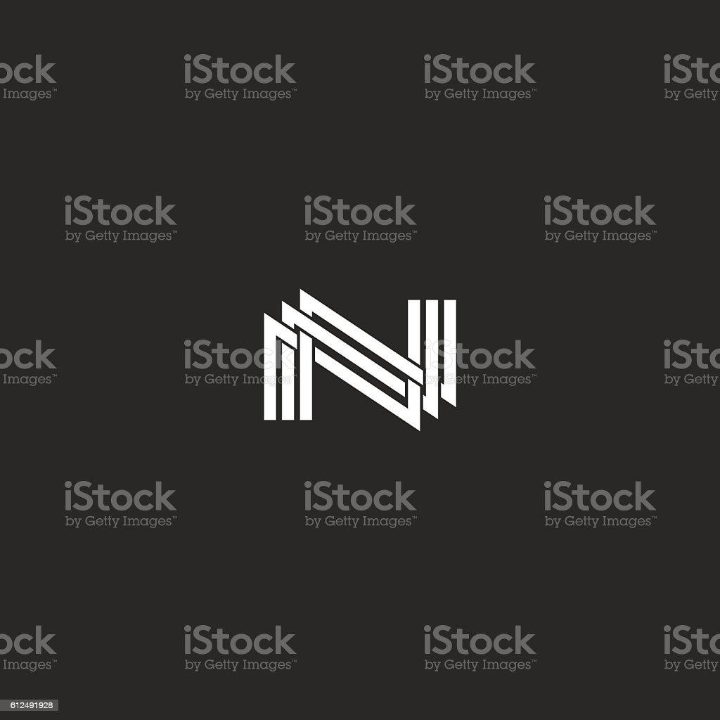 N monogram letter logo, design element wedding invitation vector art illustration