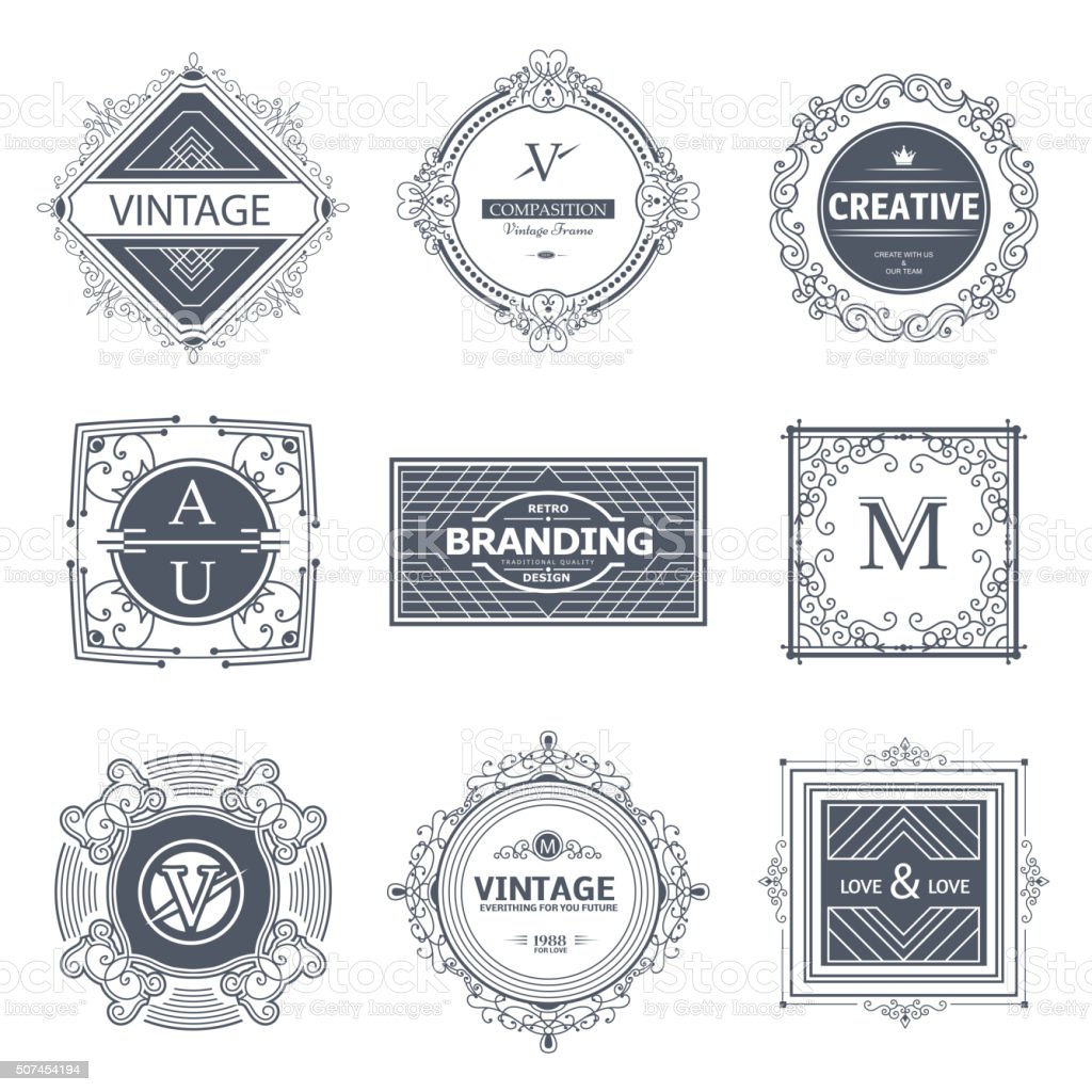 Monogram luxury elements vector art illustration