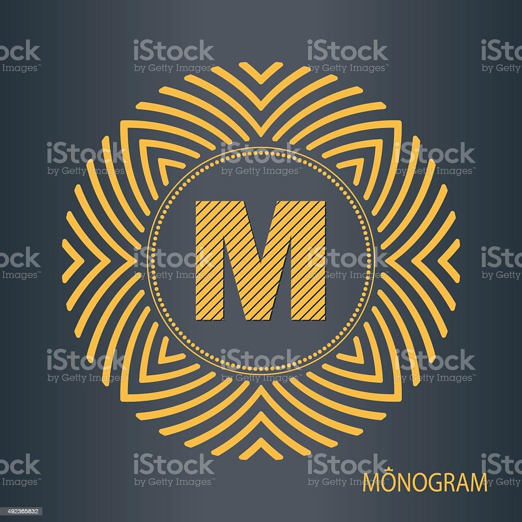 Monogram template in a minimalist style vector art illustration