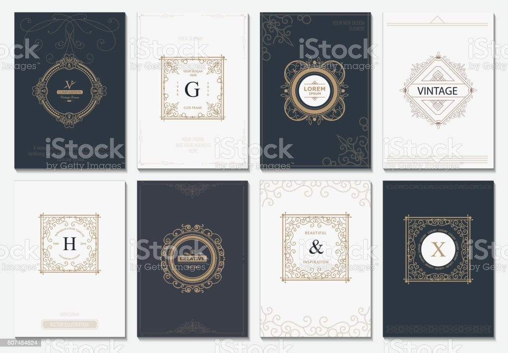 Monogram vector creative cards vector art illustration