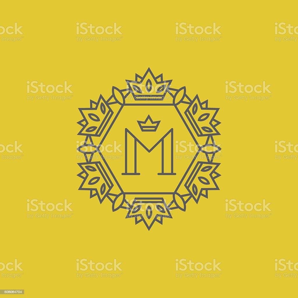 Monogram with letter M vector art illustration