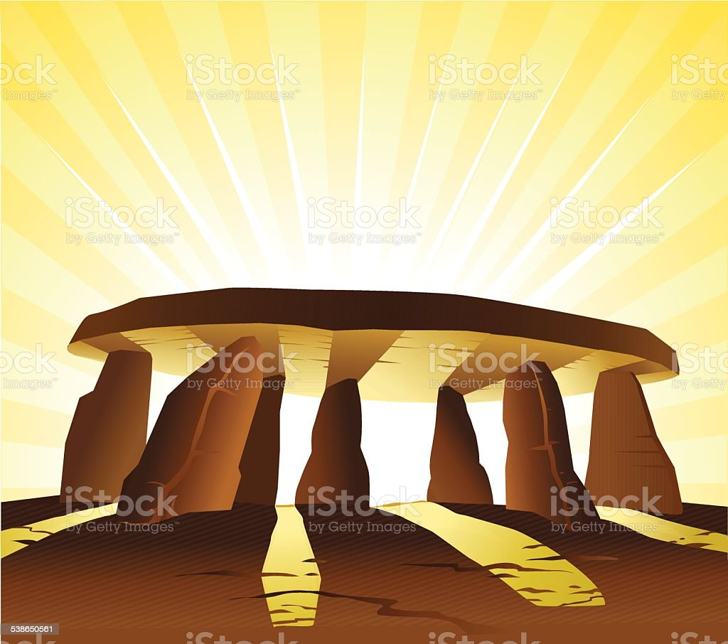Monolitic Stone Structure at Sunrise vector art illustration