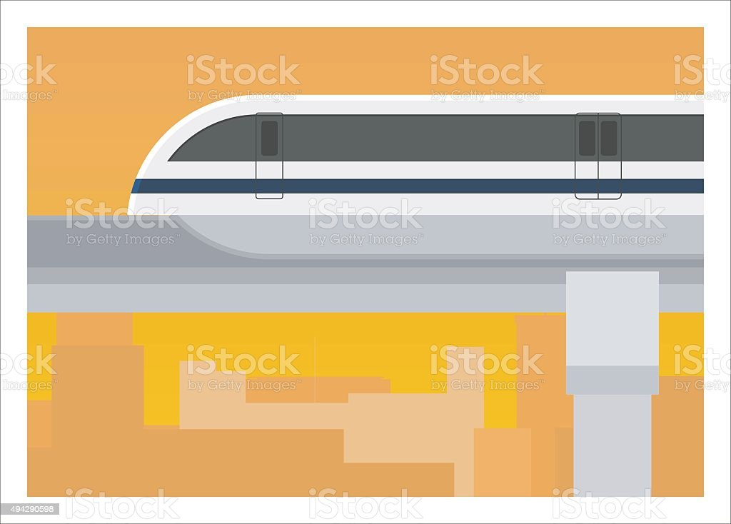 monorail with building silhouette background vector art illustration