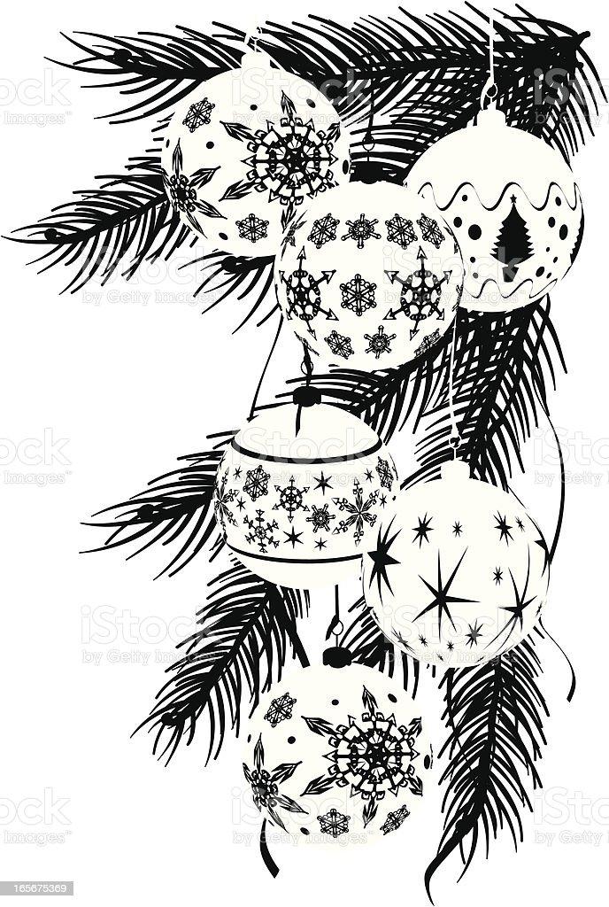 Monotone Graphic Baubles Corner - Christmas royalty-free stock vector art