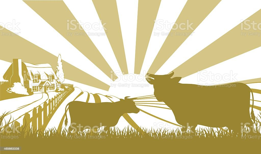 Monotone illustration of a farm with cows and sun beams vector art illustration