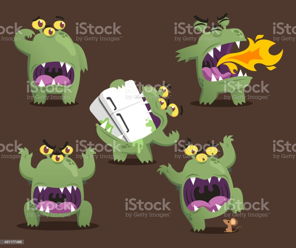 Monster Action Set royalty-free stock vector art