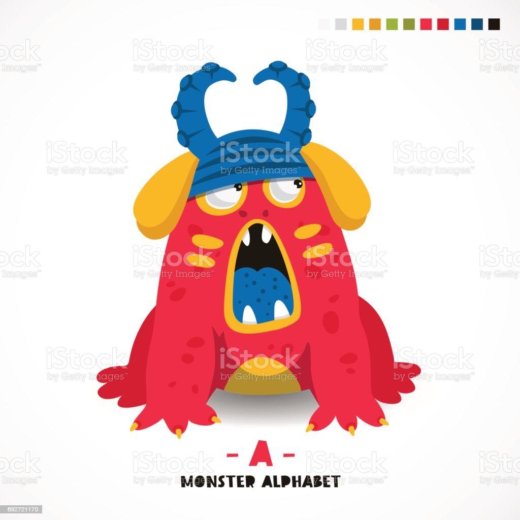 Monster alphabet. Letter A. vector art illustration