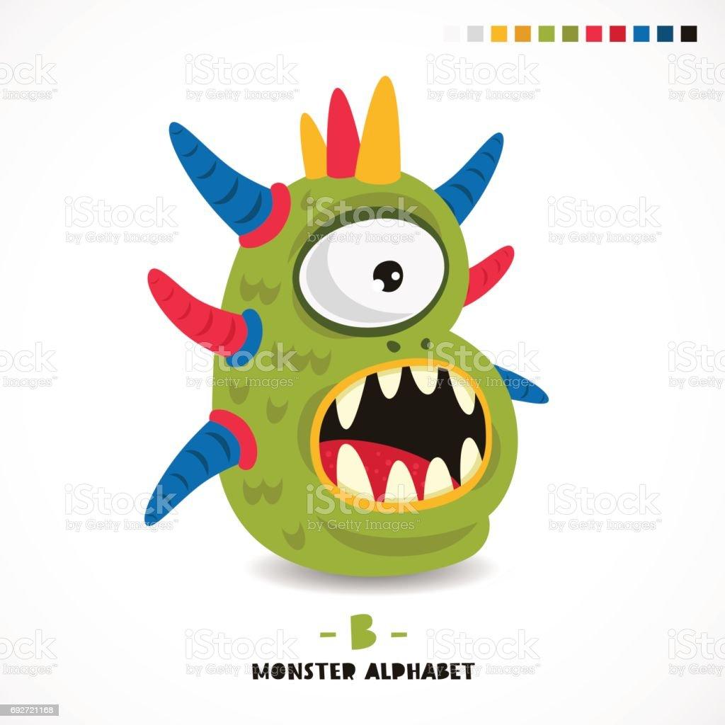 Monster alphabet. Letter B. vector art illustration