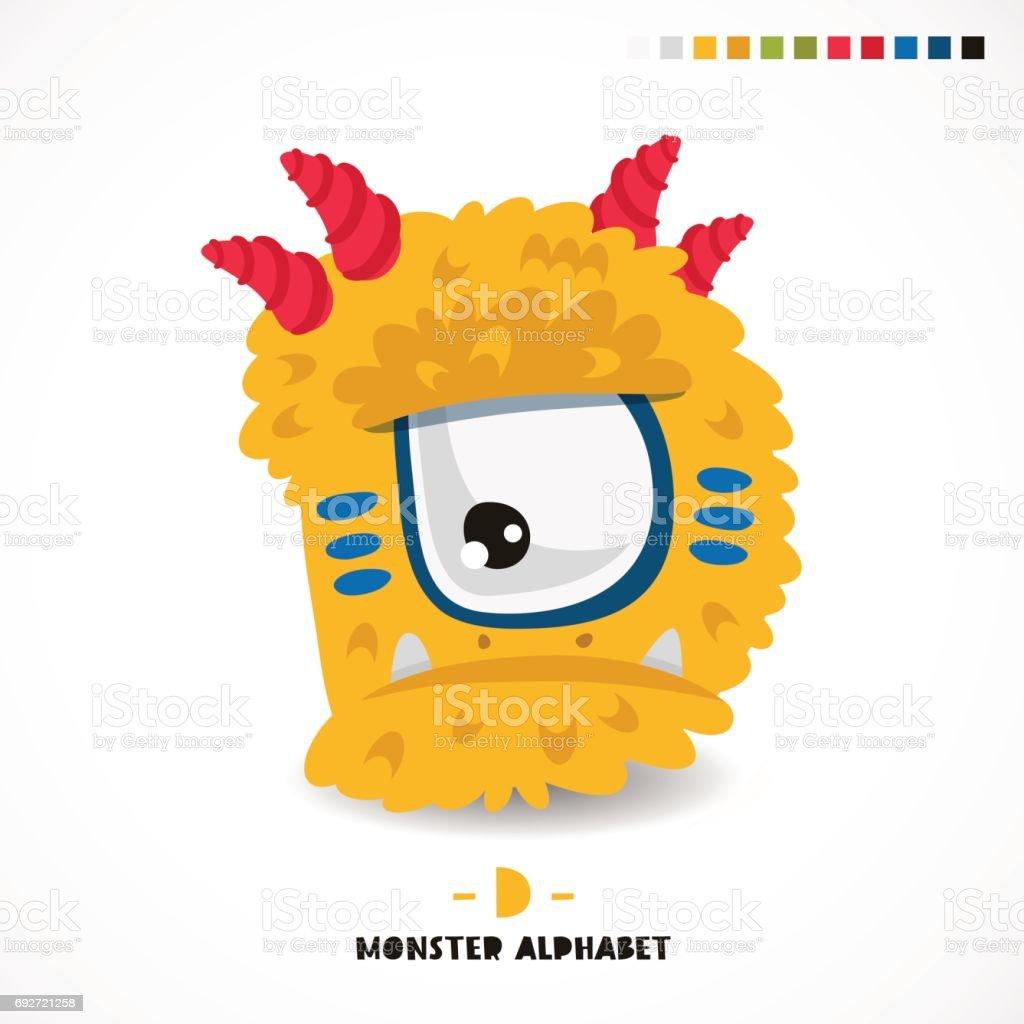 Monster alphabet. Letter D. vector art illustration