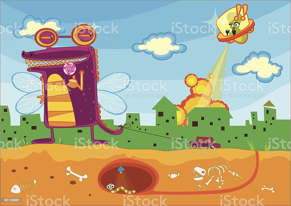 monster attack vector art illustration