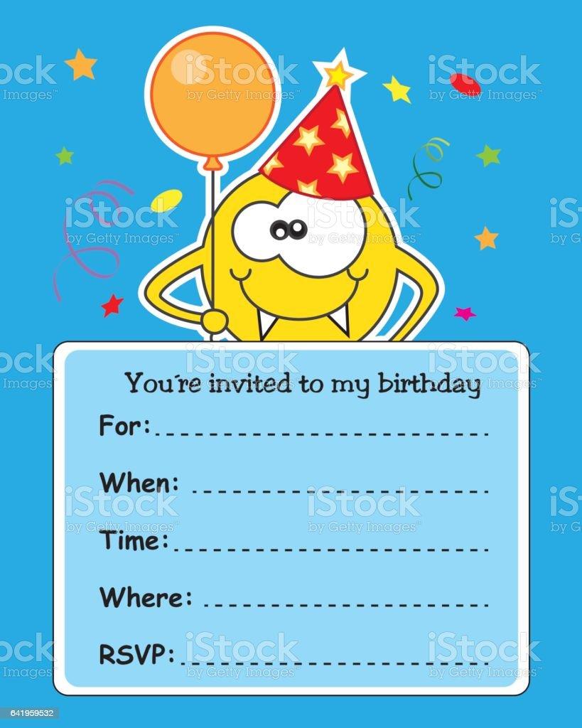 monster birthday card vector art illustration