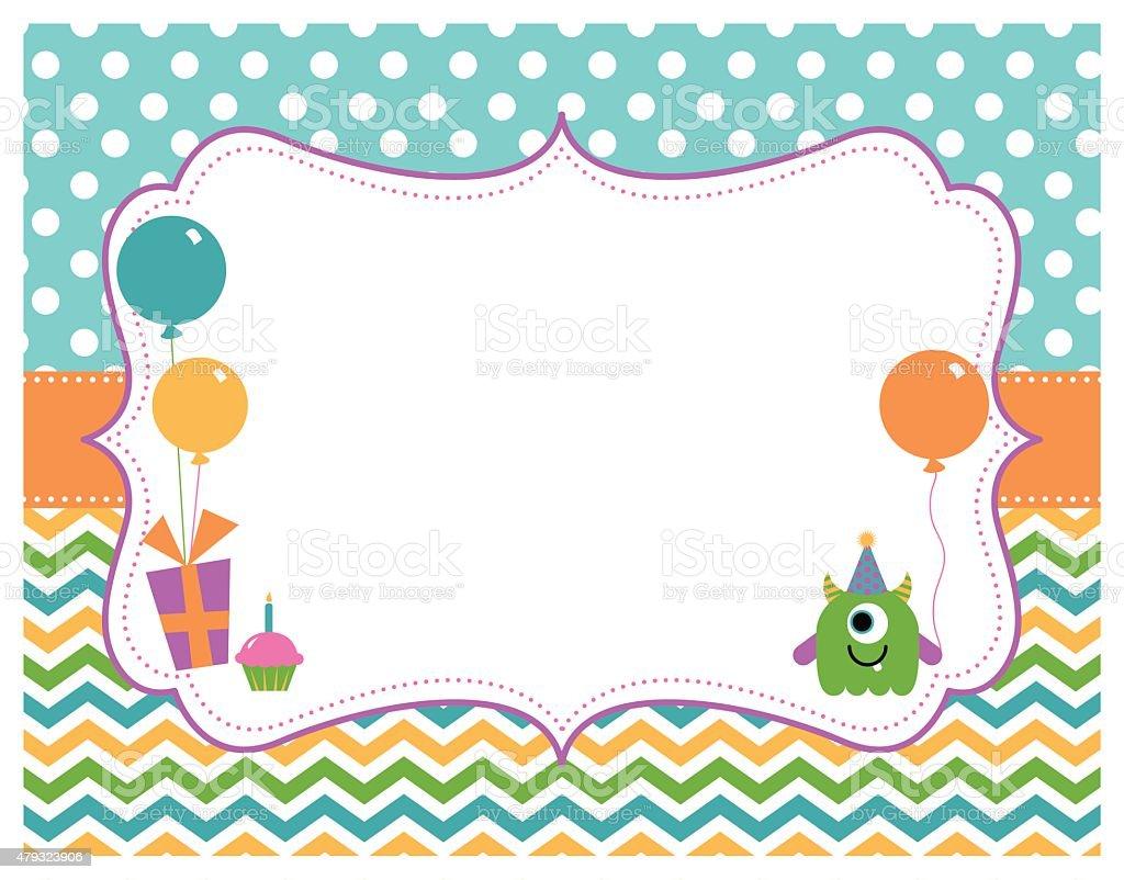 Monster Birthday Party Card vector art illustration
