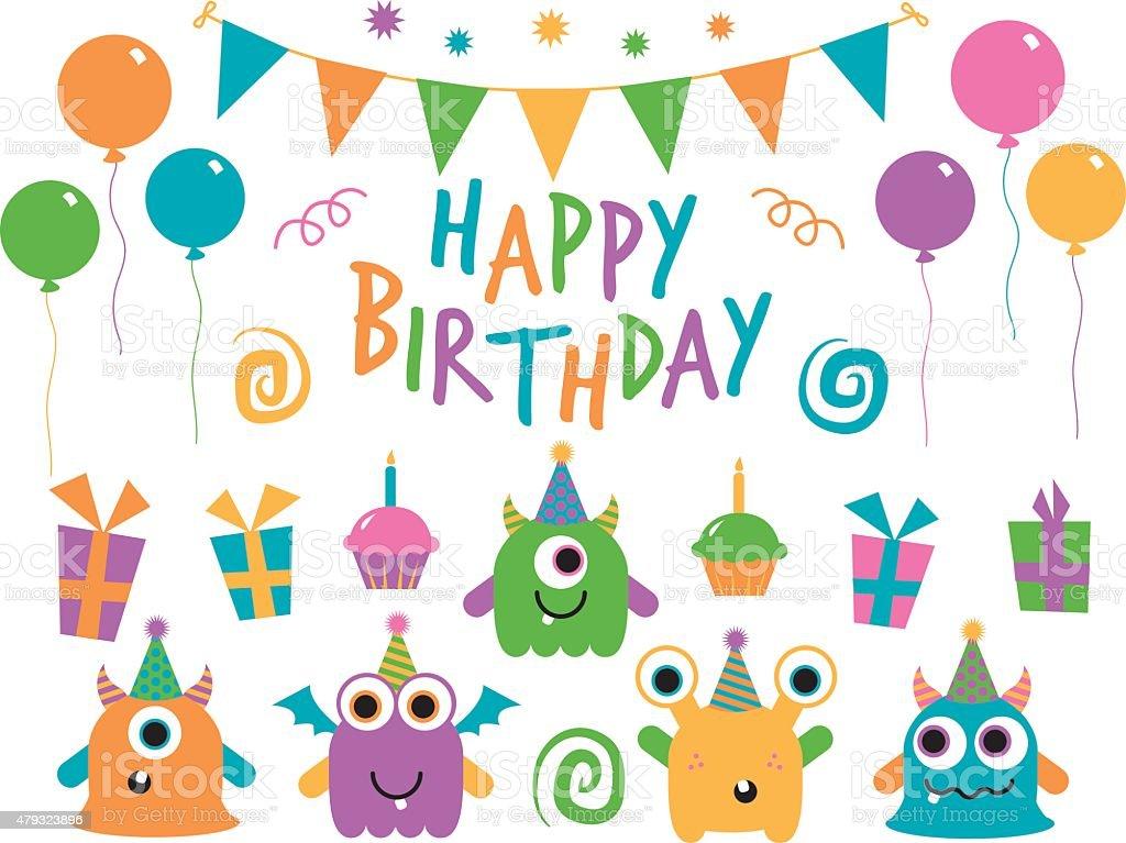 Monster Birthday Set vector art illustration
