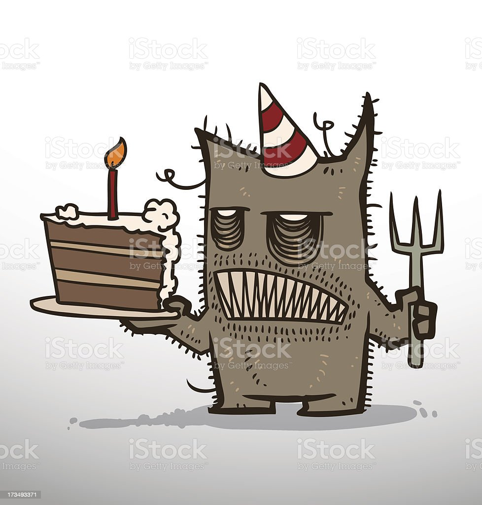 Monster birthday with a piece of cake royalty-free stock vector art