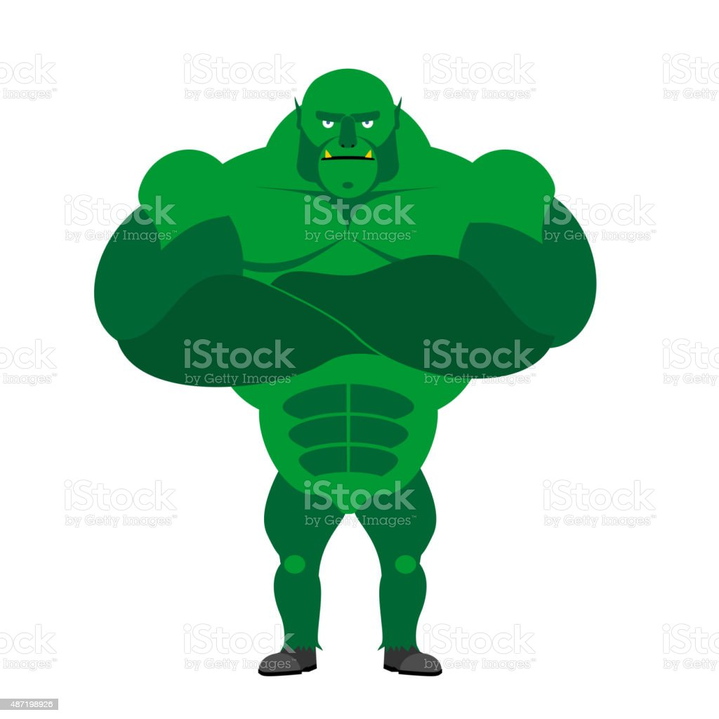 Monster BODYBUILDER on a white background. vector art illustration
