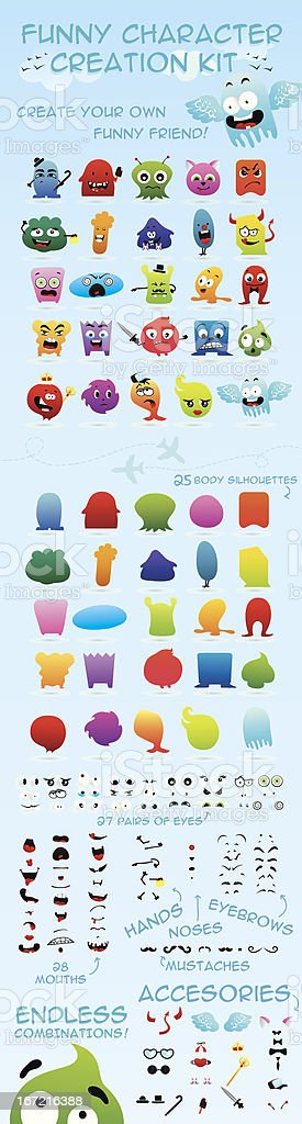 Monster creation kit vector art illustration