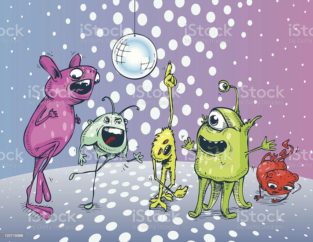 Monster Dance Party vector art illustration