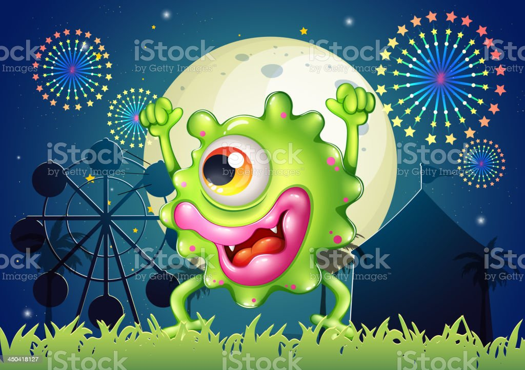 monster dancing at carnival in the middle of night royalty-free stock vector art