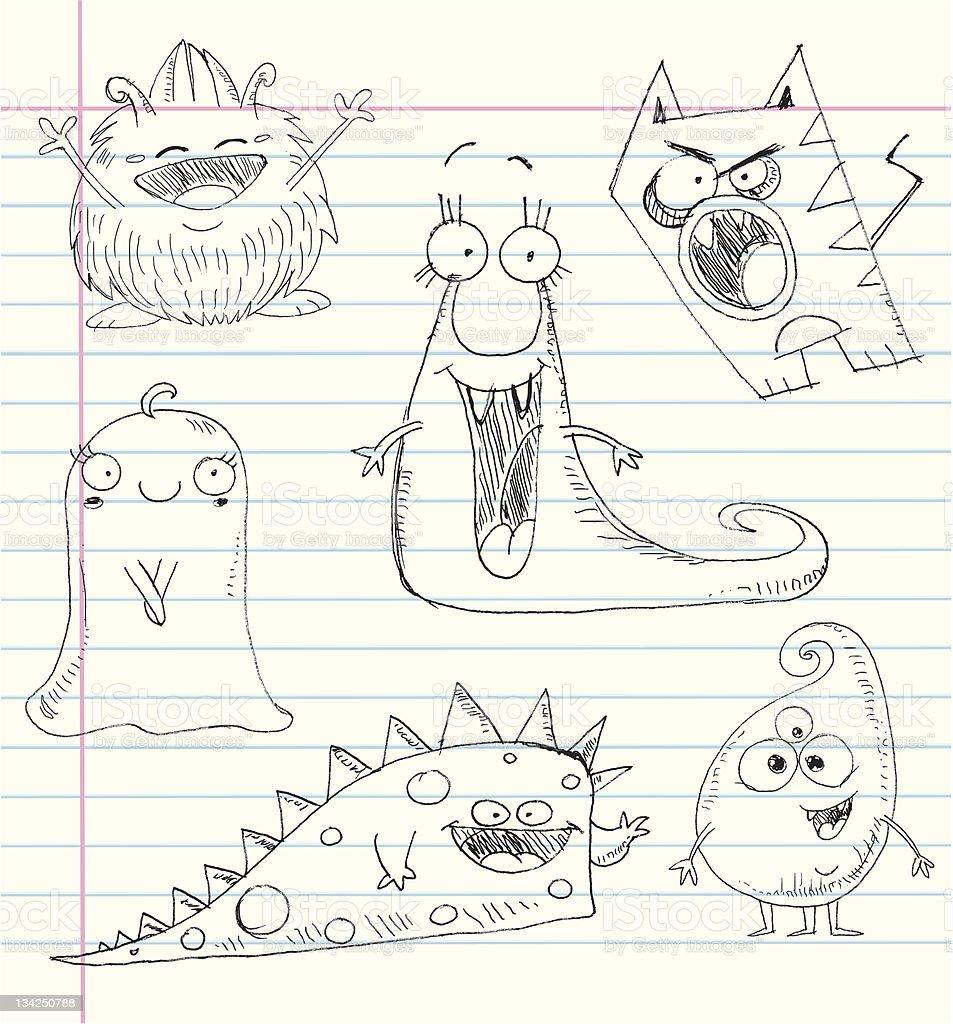 Monster doodles set 1 royalty-free stock vector art